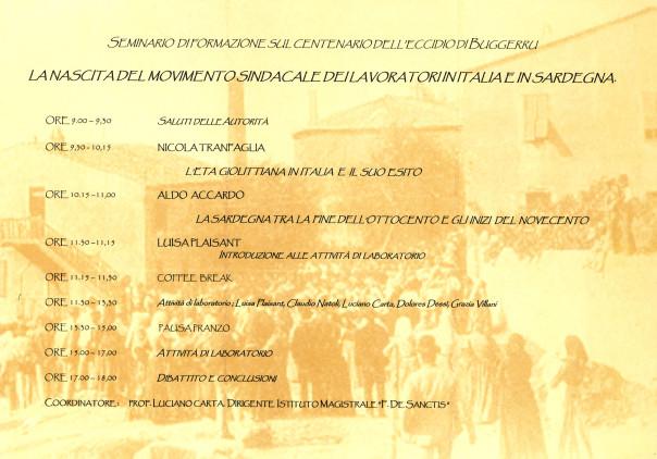 Corso di formazione sul centenario dell'eccidio di Buggerru