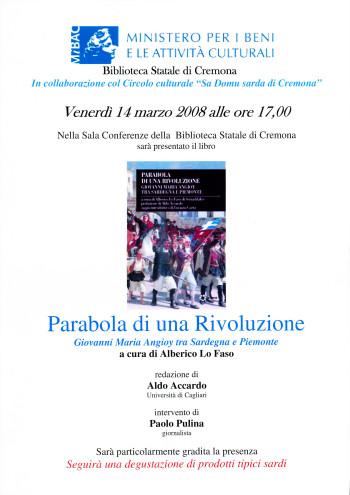 Presentazione del libro: Parabola di una Rivoluzione. Giovanni Maria Angioy tra Sardegna e Piemonte