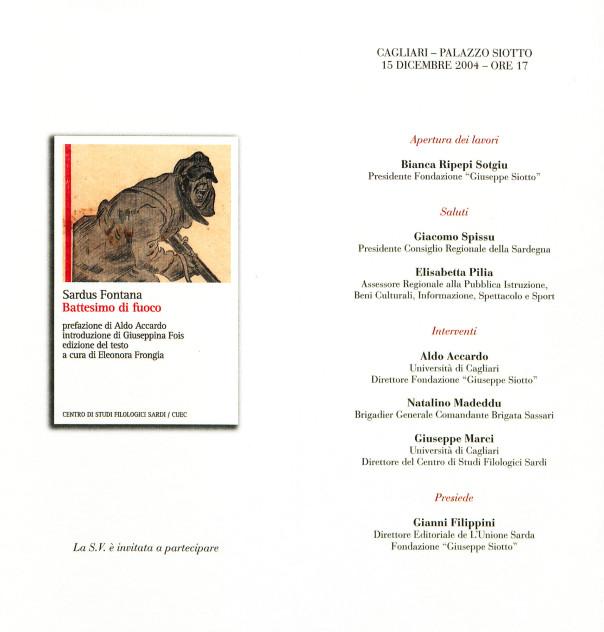 Presentazione del volume: Battesimo di fuoco - Sardus Fontana