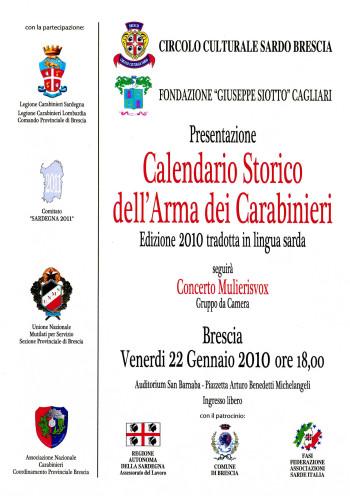 Presentazione del Calendario Storico dell'Arma dei Carabinieri - Edizione 2010 tradotta in lingua sarda