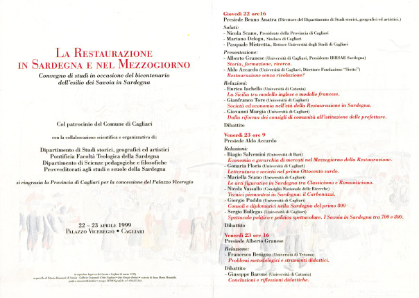 La Restaurazione in Sardegna e nel Mezzogiorno - Convegno di studi in occasione del bicentenario dell'esilio dei Savoia in Sardegna