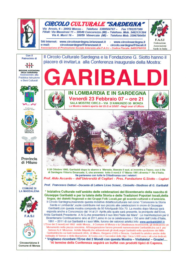 Garibaldi in Lombardia e in Sardegna