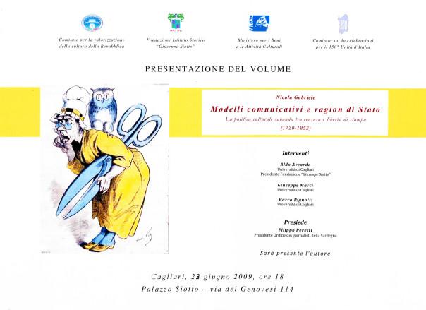 Presentazione del volume: Modelli comunicativi e ragion di Stato. La politica culturale sabauda tra censura e libertà di stampa (1720-1852) - Nicola Gabriele