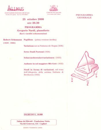 Gregorio Nardi, pianoforte - Rari e inediti schumanniani