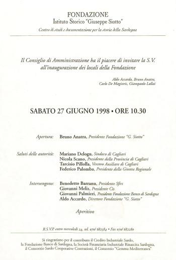 """Inaugurazione dei locali della Fondazione Istituto Storico """"Giuseppe Siotto"""""""