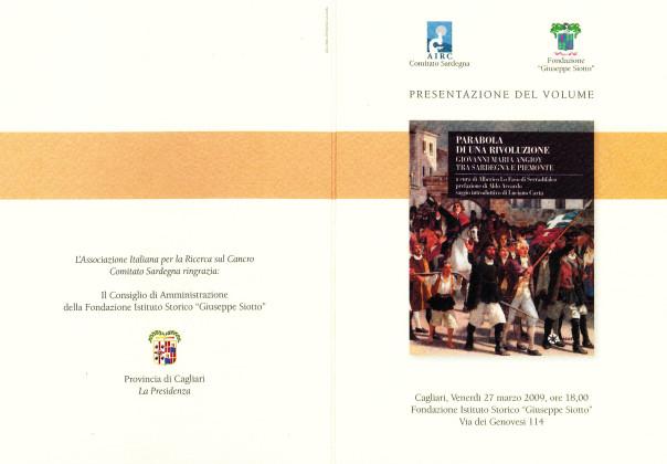 Presentazione del volume: Parabola di una Rivoluzione. Giovanni Maria Angioy tra Sardegna e Piemonte (a cura di Alberico Lo Faso di Serradifalco)