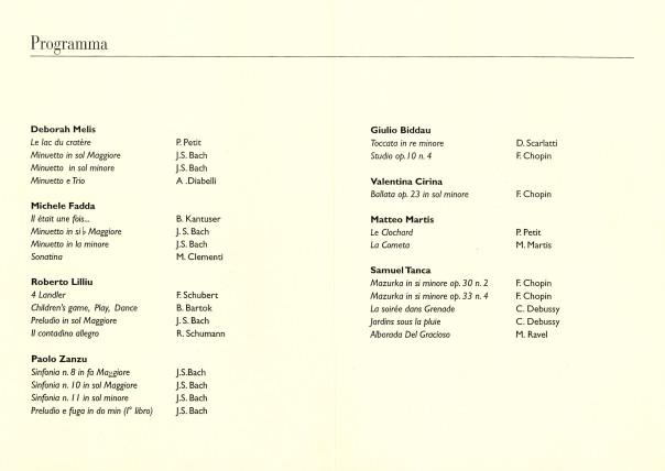 """Concerto dei Vincitori del Concorso Internazionale di Pianoforte """"Premio Gramsci"""" - VIII Edizione 2000"""