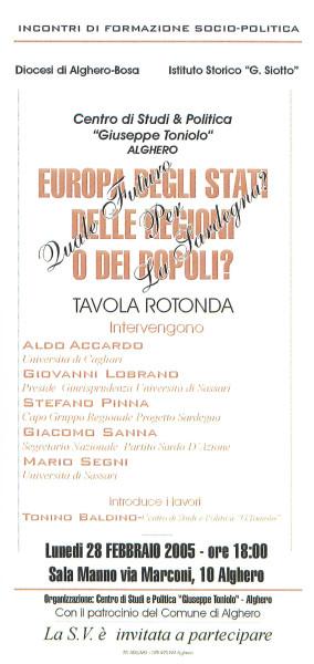 Europa degli Stati, delle regioni o dei popoli? Quale futuro per la Sardegna? - Tavola rotonda