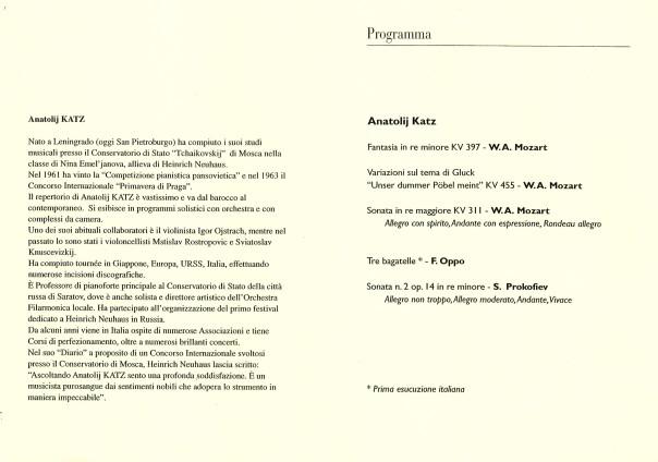 Concerto di pianoforte del Maestro Anatolij Katz