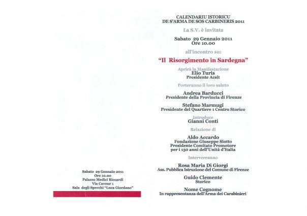 """""""Il Risorgimento in Sardegna"""": Presentazione del Calendario Storico dell'Arma dei Carabinieri – Edizione 2011 tradotta in lingua sarda"""