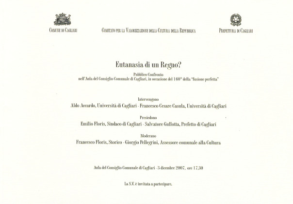 """Eutanasia di un Regno? - Pubblico Confronto in occasione del 160° della """"fusione perfetta"""""""