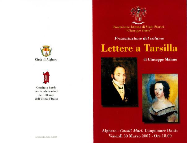 Presentazione del volume: Lettere a Tarsilla - Giuseppe Manno