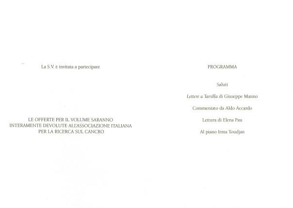 Presentazione del libro: Lettere a Tarsilla - Giuseppe Manno