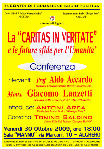 "La ""Caritas in Veritate"" e le future sfide per l'umanità - Conferenza"