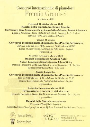 """Concorso internazionale di pianoforte """"Premio Gramsci"""" - X edizione 2002"""