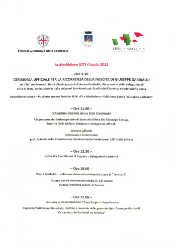 Cerimonia ufficiale per la ricorrenza della nascita di Giuseppe Garibaldi