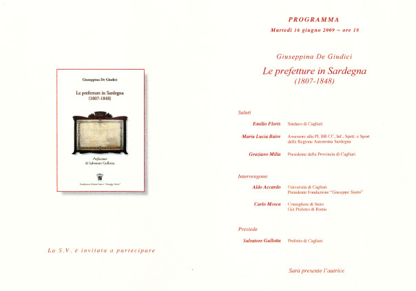 Presentazione del volume: Le prefetture in Sardegna (1807-1848) - Giuseppina De Giudici