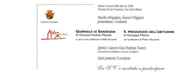 Manlio Brigaglia e Gianni Filippini presentano i volumi: Giornale di Sardegna; Il pregiudizio dell'abitudine