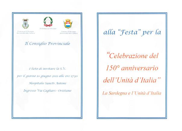 """""""Festa"""" per la """"Celebrazione del 150° anniversario dell'Unità d'Italia"""" - La Sardegna e l'Unità d'Italia"""