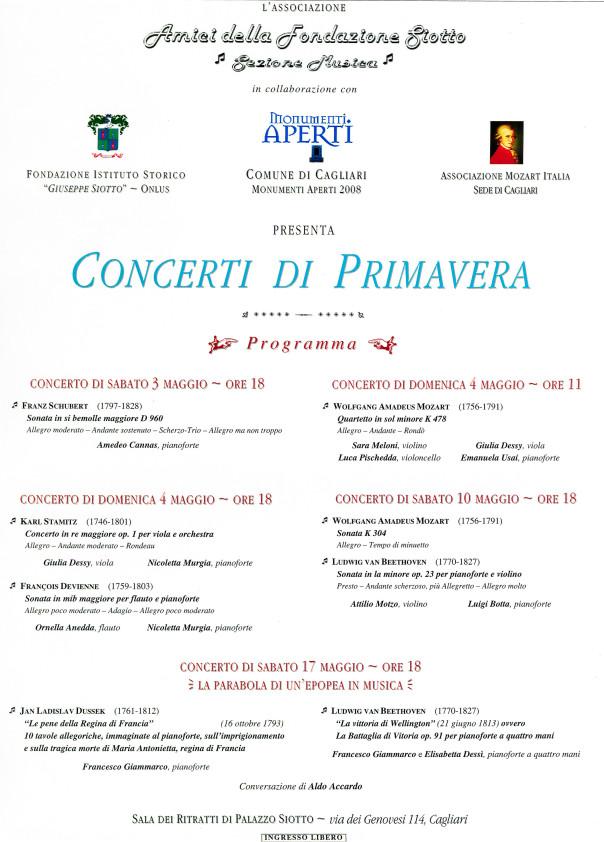 3 maggio Concerti di Primavera - Monumenti Aperti 2008di primavera