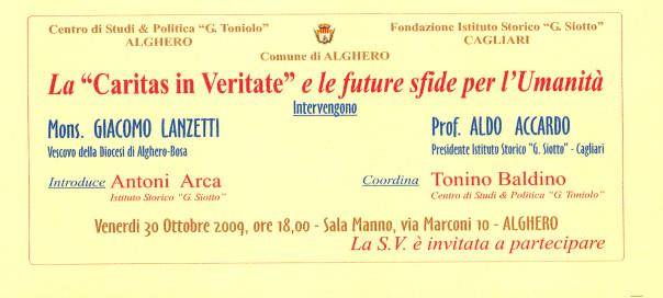 """La """"Caritas in Veritate"""" e le future sfide per l'umanità - Conferenza"""