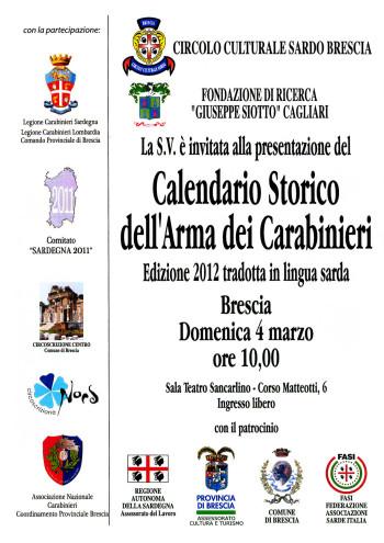 Presentazione del Calendario storico dell'Arma dei Carabinieri - Edizione 2012