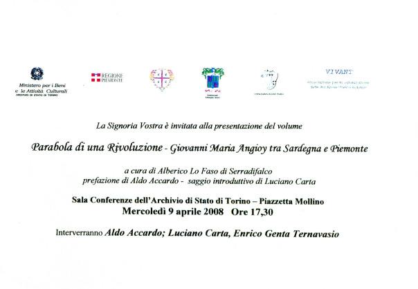 Presentazione del volume: Parabola di una Rivoluzione - Giovanni Maria Angioy tra Sardegna e Piemonte