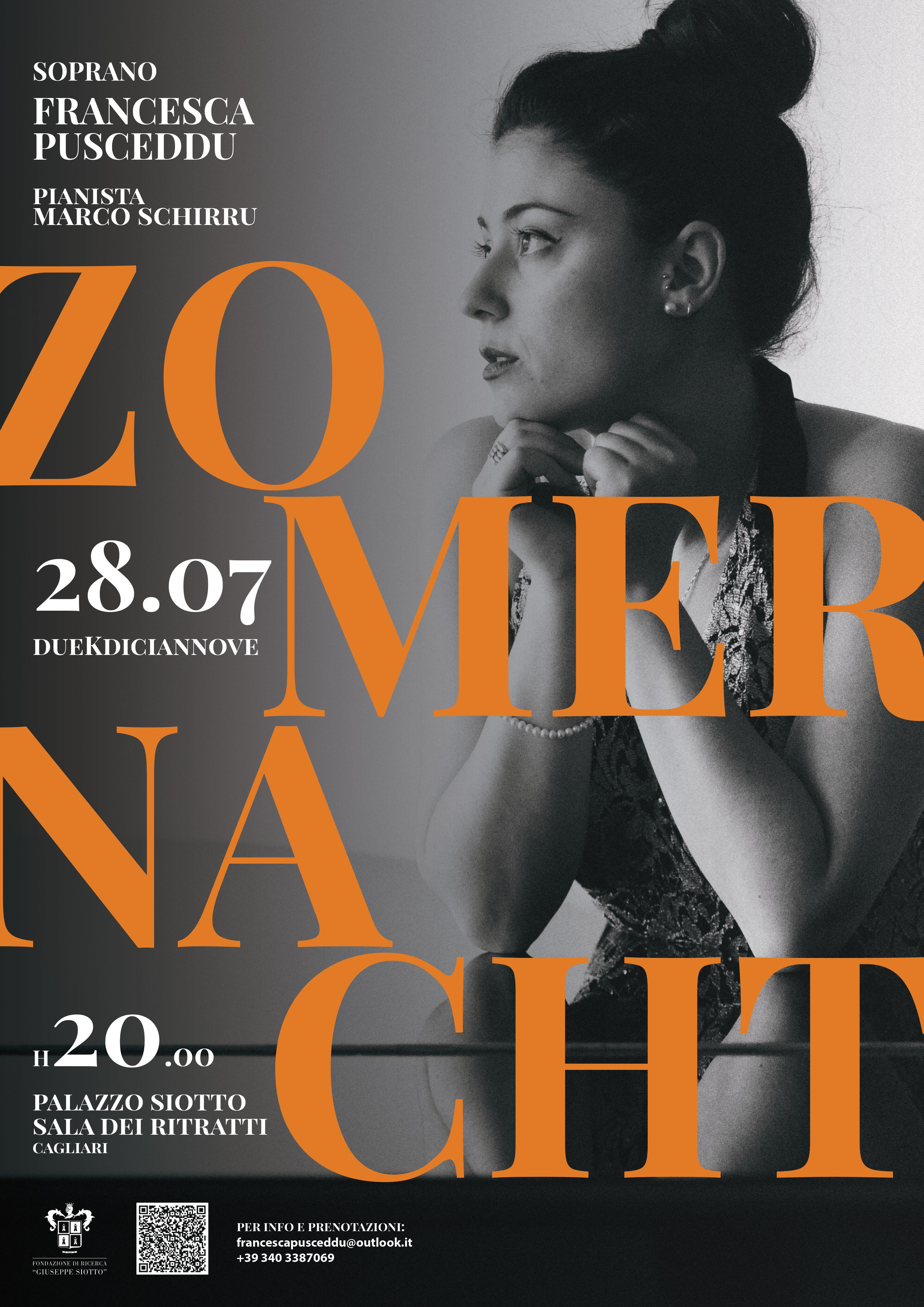 Zomer Nacht: concerto del soprano Francesca Pusceddu a Palazzo Siotto