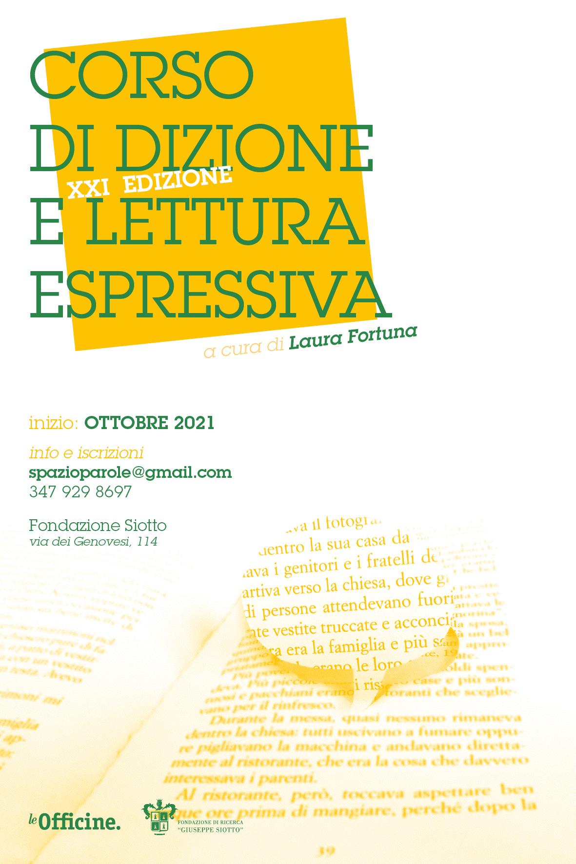 CORSO DI DIZIONE E LETTURA ESPRESSIVA a cura di Laura Fortuna – XXI edizione